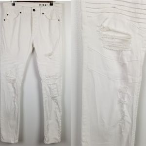 H&M DIVIDED Men's White Distressed Skinny Jeans